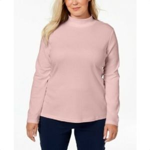 Karen Scott Cotton Rose Pink Mock-Neck Top
